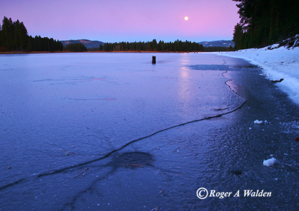 walker lake westwood, ca - moonrise and ice